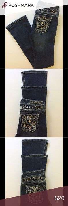 "Premiere by Rue 21  Jeans-Size 3/4 R Waist 29 1/2"" Pocket & below waist detailing! Dark wash, distressed & thick stitched. Some wear on hem (pic 6&7) Waist:29 1/2"" Outseam:40 3/4"" Inseam:32 3/4"" Front Rise:7"" Back Rise:12 3/4"" Leg Opening:13 1/2"" Measurements approx. Smoke Free/Dog Friendly Hm🌸 Premiere by rue 21 Jeans"