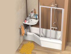 Salle de bains compacte avec un ensemble Ravak Be Happy (lavabo+douche+baignoire)