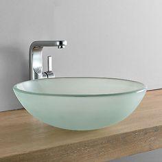 [neu.haus] Lavabo redondo lavabo Ø42cm Leche Cristal Pieza lavabo WC y baño