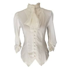 White Ivory Steampunk Gothic Victorian Pirate Cravat Ruffle Vamp... (€34) ❤ liked on Polyvore featuring tops, blouses, shirts, shirt blouse, victorian ruffle blouse, white ruffle blouse, victorian blouse and white button blouse