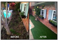 Before & After: Synthetic grass install in Addison | Texas Elite Landscaping http://www.texaselitelandscaping.com/2013/04/recent-backyard-transformations/