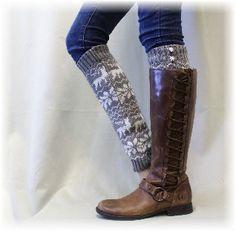 Leg warmer, Leg warmer knit, leg warmer for fall, winter, snowflake, boot sock, cuff, sock, REINDEER ROMP Grey reindeer leg warmer | LW24