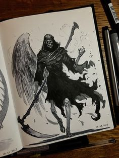 I hadn't had the time to post these on ArtStation, so they are a bit late. It was my first time doing the Inktober Challenge, but I had a lot of fun! I'd definitely recommend it to anyone wanting to improve their drawing efficiency (takes a while to get Creepy Sketches, Art Sketches, Animal Sketches, Ange Demon, Demon Art, Arte Horror, Horror Art, Reaper Drawing, Character Art