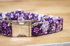 Female Dog Collar in Purple Floral with Metal by ZaleyDesigns