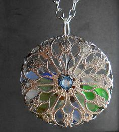 Sea Glass Jewelry - Cage Locket Necklace - KALEIDOSCOPE.