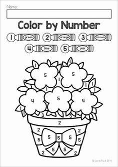 Spring Color by Number packet. Includes numbers and Coloring Worksheets For Kindergarten, Kindergarten Math Worksheets, Preschool Activities, Preschool Colors, Numbers Preschool, Preschool Math, Coloring For Kids, Coloring Books, Coloring Pages