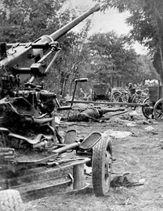 Polish Bofors anti-aircraft gun abandoned after the column was attacked by German aircraft, Battle of Bzura, Poland, Sep 1939