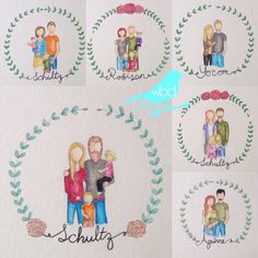 WBD Custom Watercolor Family Portrait (Hand Drawn Print) - by… Family Portrait Drawing, Faceless Portrait, Family Drawing, Family Painting, Family Portraits, Watercolor Portrait Tutorial, Watercolor Portraits, Watercolor Paintings, Watercolor Ideas