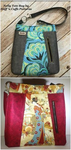 This bag sewing pattern has an unusual vertical pocket on the outside and then also another concealed pocket in the side too. Can sew with one, both or none of course but I'm adding them all! Great for that fabric I've been saving with the large scale mermaid print.