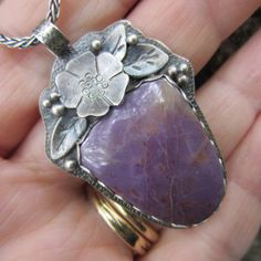 Purple Jadeite and Silver Blossom Necklace
