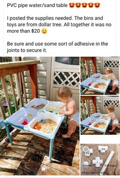 PVC pipe water/sand table PVC pipe water/sand table idea for toddlers Toddler Learning Activities, Baby Learning, Infant Activities, Activities For Kids, Outdoor Toddler Activities, Baby Sensory Play, Baby Play, Toddler Play, Outdoor Play For Toddlers
