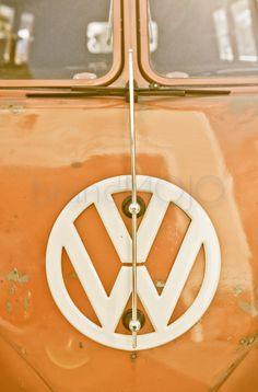 Vintage bus Photography VW volkswagon van emblem type 1 t1 road trip 67 surfer orange beach aged metal - Kombi Microbus - fine art photo on Etsy, $10.00