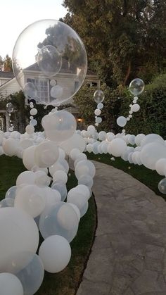 "This gorgeous balloon installation really ""wow""-ed guests, who felt like they were walking through their very own bubble bath for this Rubber Ducky themed first birthday party! balloons The Statement Entrance White Party Decorations, Birthday Decorations, Wedding Decorations, Birthday Backdrop, White Party Themes, Sweet 16 Centerpieces, Graduation Decorations, Christmas Decorations, Event Planning"