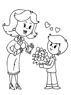 Special mothers day online coloring pages for kids. Enjoy amazing drawings of family specially for mom that children can color online or print.