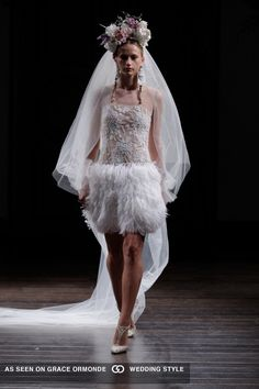 naeem khan wedding dress with short feathered skirt