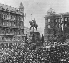 Czechoslovakia declares independence from the Austro-Hungarian Empire in Wenceslas Square in Prague, October 28 Bohemia Country, Kingdom Of Bohemia, Carinthia, Prague Czech Republic, Heart Of Europe, Prague Castle, Austro Hungarian, Central Europe, Bratislava