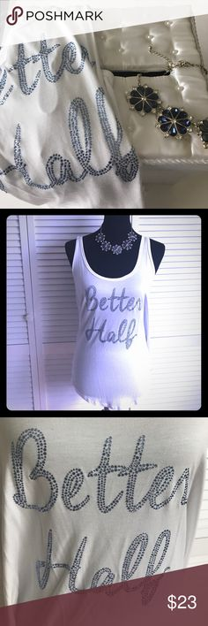 """Bridal Collection white tank size L """"Better half"""" From the Victoria's Secret Bridal Collection is a white super soft tank size Large. New with tags $32.50, says """"Better Half"""" in blue Rhinestones. Victoria's Secret Tops Tank Tops"""