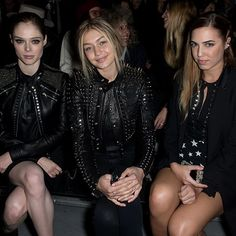 Coco Rocha, Gigi Hadid and Amber Le Bon seen at Diesel Black Gold Show. CELEBRITY FROW: AW15