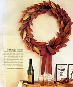 Brown paper bag wreath indoor for fall