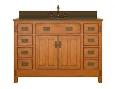 This rustic vanity by Sagehill embodies Craftsman style