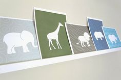 Giraffe Art Print / Wild Animal Set / Choose your Colors and Background / 8x10 / Wall Art Poster