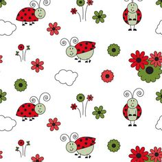 Ladybug Picnic Shelf Paper: Cute ladybugs in bright red and flowers in green on a white field, perfect for your little one's nursery.