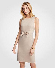 #Spring #AdoreWe #Ann Taylor - #Ann Taylor Ann Taylor Cotton Sateen Tie Front Sheath Dress - AdoreWe.com
