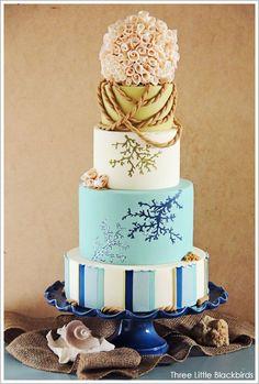 What a stunning wedding cake #wedding #weddingcake #cake #blue #blushpink