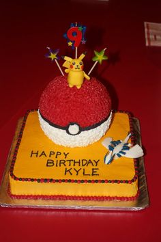 Pokemon Cake- I made this for aj.  However, I used round cakes for the base and blue frosting with white border.  It looked really nice and was a fun cake. Easy to do.