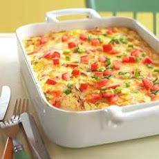 Crustless Bacon and Cheese Quiche Recipe Breakfast and Brunch, Main Dishes with green onions, tomatoes, Oscar Mayer Bacon, fresh mushrooms, eggs, reduced-fat sour cream, shredded cheddar cheese, shredded mozzarella cheese