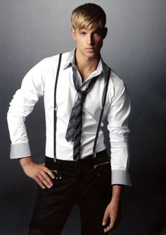 White shirt with blue/gray cuff and collar--plus suspenders---nice! Cool Outfits For Men, Blonde Guys, Clothes Pictures, Good Looking Men, Stylish Men, Men Casual, Well Dressed, Male Models, Top Models