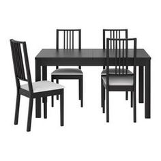 $395 IKEA - BJURSTA / BÖRJE, Table and 4 chairs, Extendable dining table with 2 extra leaves seats 4-8; makes it possible to adjust the table size according to need.You can store the extension leaves within easy reach under the table top.Concealed lock keeps the extension leaves in place and prevents gaps between them.The clear-lacquered surface is easy to wipe clean.Removable cover Machine washable cover; easy to keep clean.Padded seat for increased sitting comfort.T...