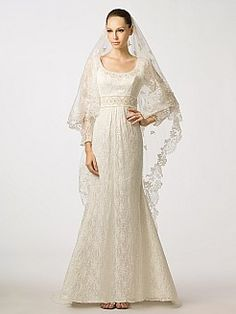 Long Sleeved Scoop Neckline Lace Mermaid Wedding Dress with Beaded Waist - USD $239.99
