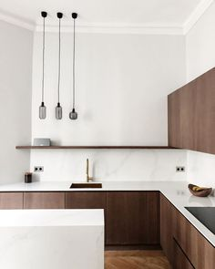Want to give your kitchen a makeover? Consider one of these best wood kitchen ideas to spruce up the space. Dark Wood Kitchen Cabinets, Dark Wood Kitchens, Wooden Kitchen, Brown Kitchens, Apartment Kitchen, Home Decor Kitchen, Home Kitchens, Kitchen Ideas, Ikea Kitchen Inspiration