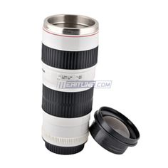 Camera Lens Coffee Mug Cup 1:1 Canon EF 70-200mm Lens in Stainless Steel White Color Color:White| Meritline.com