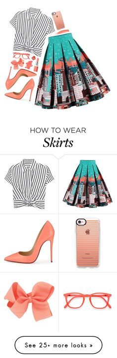 """City Skirt "" by zosia-hp on Polyvore featuring T By Alexander Wang, Christian Louboutin, Casetify, Obsessive Compulsive Cosmetics, Clinique and Bobbi Brown Cosmetics"