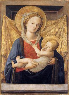 Madonna and Child. Lippi. 1450. Tempera and gold on wood.  80 x 53 cm. Fondazione Magnani Rocca, Mamiano di Traversetolo.