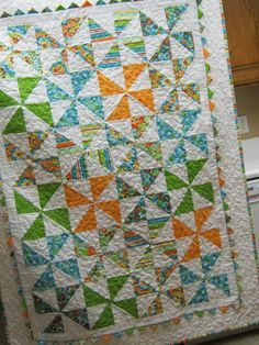 Colorful Pinwheel Quilt- Orange, Green, Blue, Yellow, White