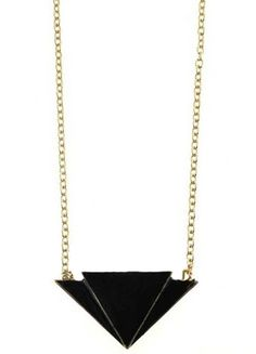 Black Triangle Gold Long Chain Necklace