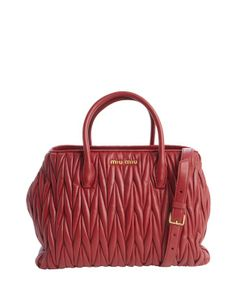 Miu Miu ruby quilted leather convertible top handle bag