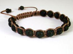 Men's Black Lava Stone Shamballa Bracelet, Indonasian Volcanic Lava Stone Braided Bracelet, Mala Bracelet