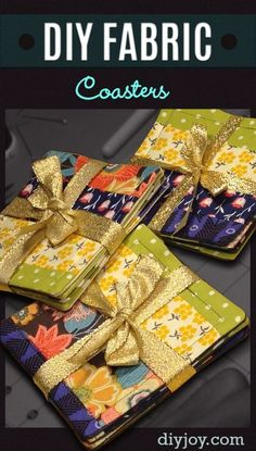 Easy DIY Sewing Projects for the Home - Homemade Fabric Coasters Make Awesome and Creative DIY Gifts for Mom or Dad, Christmas Presents for Friends.