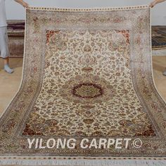 Yilong 6'x9' Persian Silk Rugs Square Hand Knotted Isfahan Carpets Handmade 0990