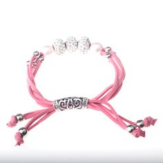 Adjustable Leather Bracelet, 4 strands pink faux suede leather cords with rhinestone beads, Extension-type, Inner diameter 50mm