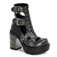 Multi buckle ankle boots in two-tone Dark Grey and Black with brushed chrome ABS heel. These boots feature an open design with industrial buckles, spikes and a front zipper.