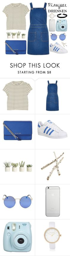 """""""Pinafore Dresses"""" by pjwrdyt ❤ liked on Polyvore featuring Monki, River Island, MICHAEL Michael Kors, adidas, Allstate Floral, Crate and Barrel, Native Union, Fujifilm, Miss Selfridge and pinafores"""