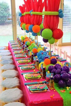 Loving the colorful table settings at this Trolls Birthday Party are awesome!! See more party ideas and share yours at CatchMyparty.com #catchmyparty #partyideas #trollsbirthdayparty #girlbirthdayparty #trollstablesettings #trollspartydecorations