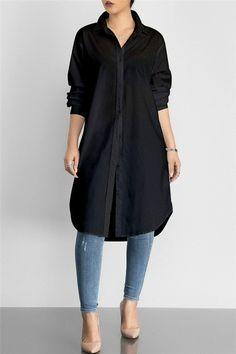 Solid Color Shirt Dress