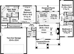 Craftsman Style House Plan - 3 Beds 2 Baths 1627 Sq/Ft Plan #21-364 Floor Plan - Main Floor Plan - Houseplans.com