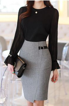 Kreis Schnalle Seite Detail Wrap Style Bleistiftrock Check more at. The Effective Pictures We Offe Stylish Work Outfits, Business Casual Outfits, Professional Outfits, Office Outfits, Classy Outfits, Chic Outfits, Fashion Outfits, Business Attire, Corporate Attire Women